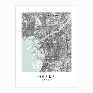 Osaka Japan Street Map Minimal Color Art Print
