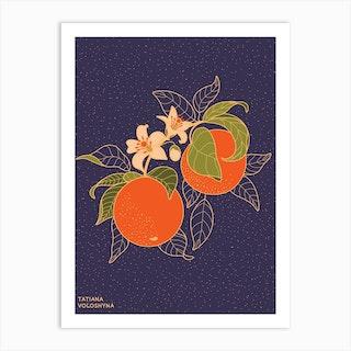 Orange Branch Art Print