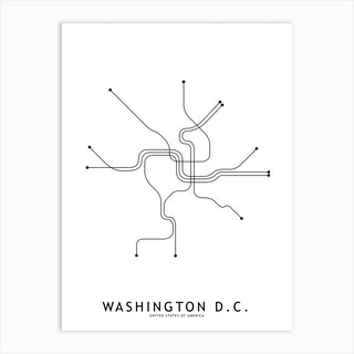 Washinton Dc Subway White Map Art Print