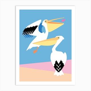 Pastel Pelicans Art Print