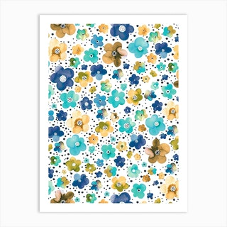 Dots Naive Flowers Blue Multi Ocre Art Print