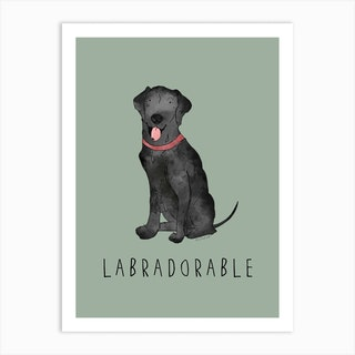 Black Labrador Dog Sage Green Art Print