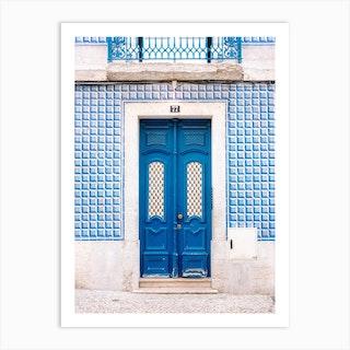 The Blue Door Of Lisbon Portugal Art Print