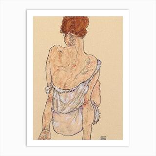 Seated Woman In Underwear, 1917 by Egon Schiele Art Print