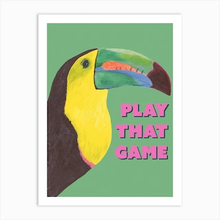 Toucan Play That Game In Green Art Print