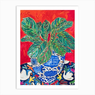 Completely True Facts About Swans Indoor Plant Art Print