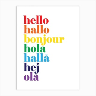 Hello Hallo Rainbow Art Print