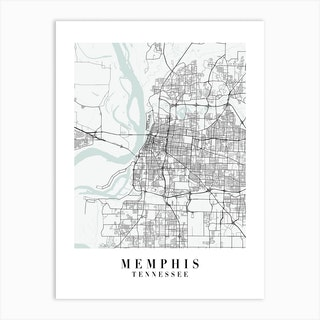 Memphis Tennessee Street Map Minimal Color Art Print