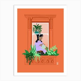 Watering Window Art Print