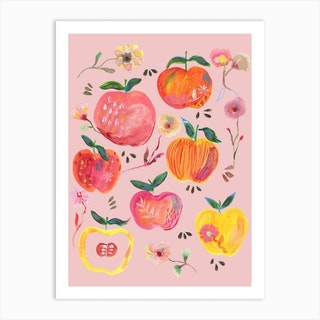 Apples And Florals Pink Art Print