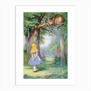 Alice And The Cheshire Cat Art Print