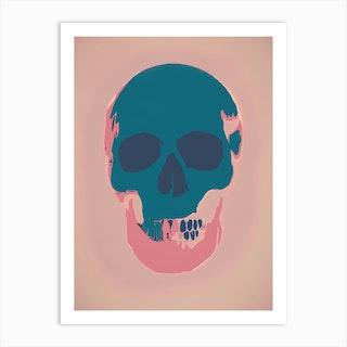 Teal Skull  Art Print