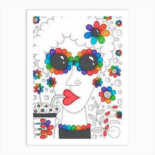 Rainbow Camomiles Girl Art Print