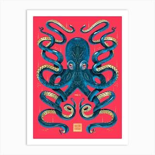 Octopus Magenta And Blue Art Print