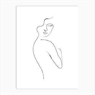 Minimalist Nude Line Art 1 Art Print