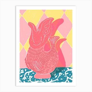 Pink Fish Vase Art Print