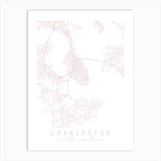 Charleston South Carolina Light Pink Minimal Street Map Art Print