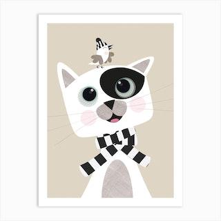 Cat And Bird Best Friends Art Print