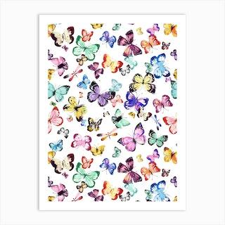 Watercolor Butterflies Multi White Art Print