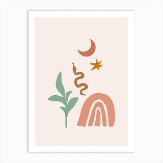 Terracota Desert Rainbow Art Print