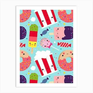 Ice Cream And Sweets Kawaii Pattern Art Print