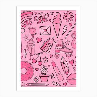 Pink Print Art Print