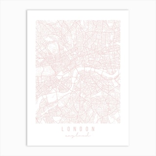 London England Light Pink Minimal Street Map Art Print