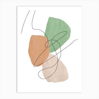 Abstract Line On Green Art Print
