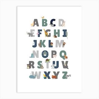 Animal Alphabet In Green Art Print