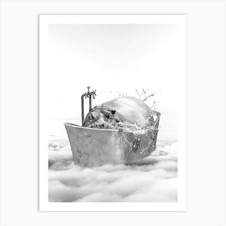 Hippo Bath Art Print