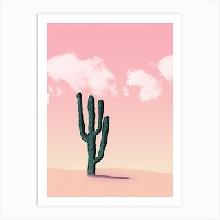 Cactus In A Pink Desert Art Print