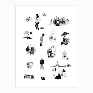 France Drawing Art Print