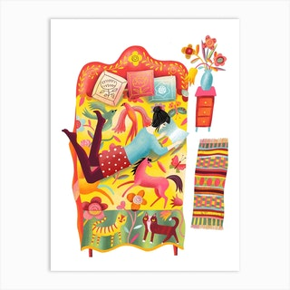Girl Reading On Quilt Bed Art Print