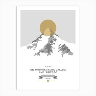 Mountains Illustrated K2 Gold Circle Art Print