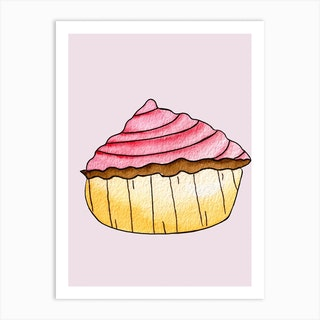Gold And Pink Strawberry Cupcake Art Print