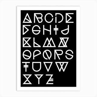 Geometrical Abc Black Art Print