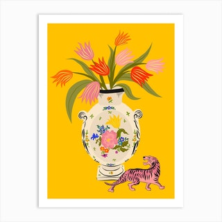 Porcelain And Tulips Art Print