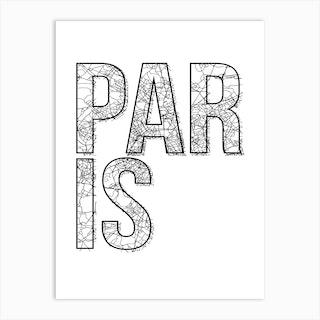 Paris Street Map Typography Art Print