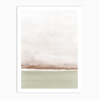 Minimal Watercolor Landscape Sepia And Olive Art Print