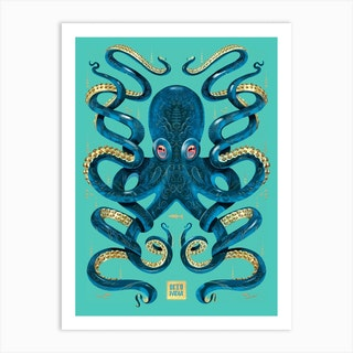 Octopus Blue And Gold Art Print
