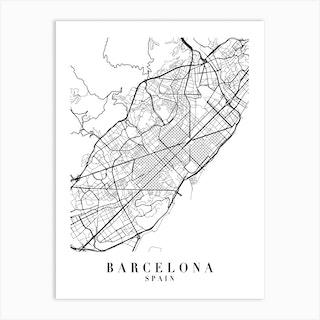 Barcelona Spain Street Map Minimal Art Print