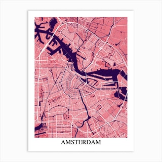 Amsterdam Pink Purple Art Print