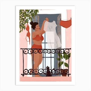 Laundry Girl Art Print