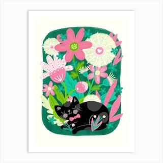Kitty Garden Art Print