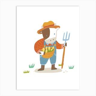 Farmer Cow Art Print