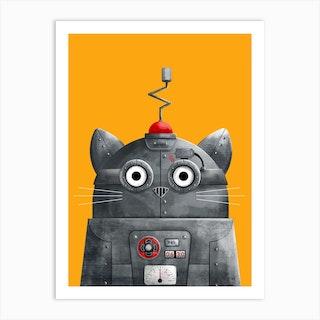 Cat Robot Art Print