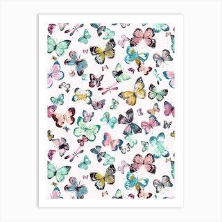 Watercolor Butterflies Pink Green Art Print