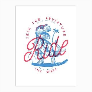 Surfing T Rex Art Print