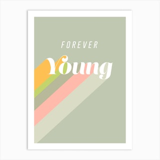 Forever Young Retro Stone Art Print