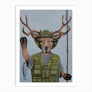 Fisherman Deer Art Print